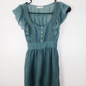 Mine Green blouse ruffled sleeve size S